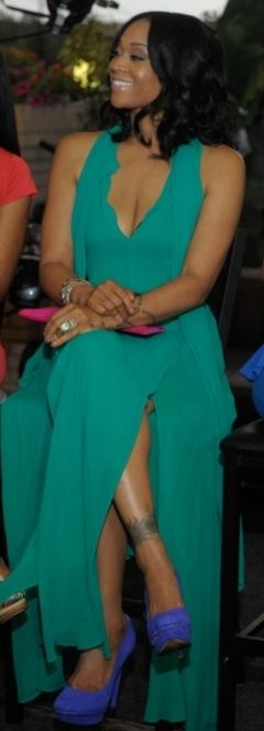 Mimi Faust's Green Maxi Dress With Tie Neck