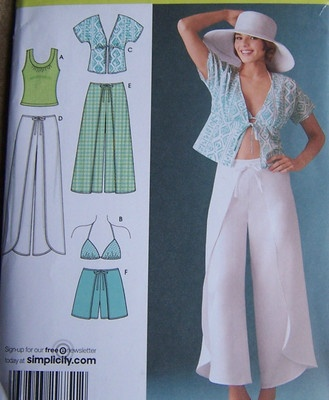 "Misses Wrap Pants, Shorts, Kimono Top, Bra Top and Knit Top $8 .. I haven't seen WRAP ON WRAP AROUND PANTS since the 1970's... ""Barb"" remember the pair you made?"
