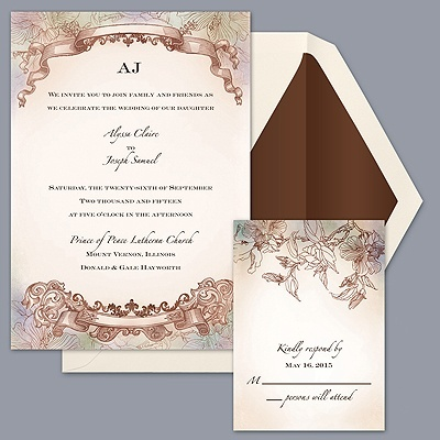 Great Soft, Pastel Colorwash Wedding Invitation With Antique, Botanical Theme  From Davidu0027s Bridal. Find More Watercolor And Pastel Invitation Sets When  You Shop ...