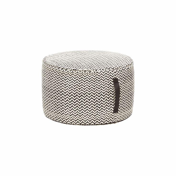 פוף גלגל כותנה שחור לבן Hübsch U2013 SOHO. 100% Design Shop