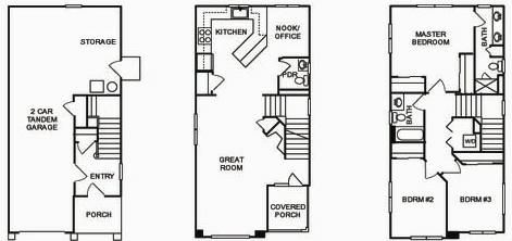 New large 3 4 br detached townhomes for sale in a for Large townhouse floor plans