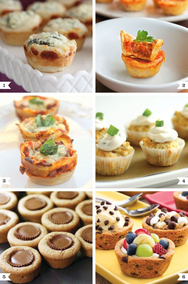 """Finger Food:  1. Spinach Dip Mini Bread Bowls 2. Mini Pizza Cups 3. Lasagna Cups 4. Cheddar Herb Bread with Goat Cheese """"Frosting""""   5. Reese's Cookie Cups  6. Cookie Cups"""