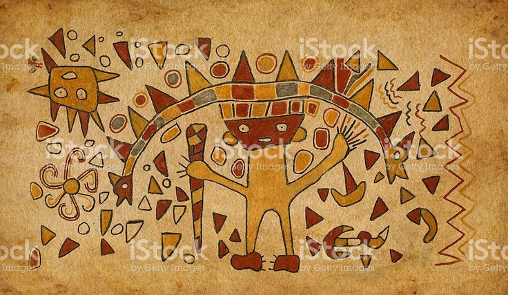 Civilisation précolombienne inca dessin sur le codex Papier parcheminé stock vecteur libres de droits libre de droits
