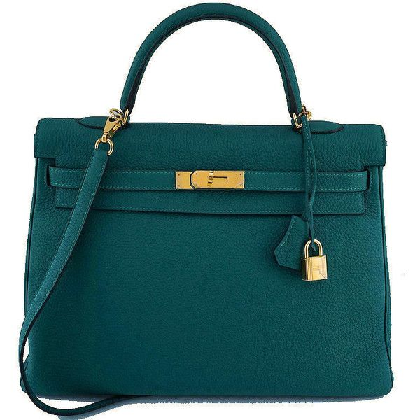 Pre-Owned Hermes Malachite Green 35cm Kelly Togo Retourne Bag GHW ($12,500) ❤ liked on Polyvore featuring bags, handbags, malachite green, kiss-lock handbags, genuine leather handbags, shoulder strap handbags, leather purses and real leather purses