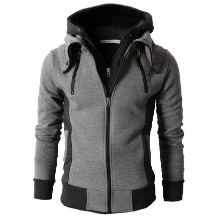 Men's Hoodie High Neck Zip-Up (KMOHOL013) www.dobulju.com