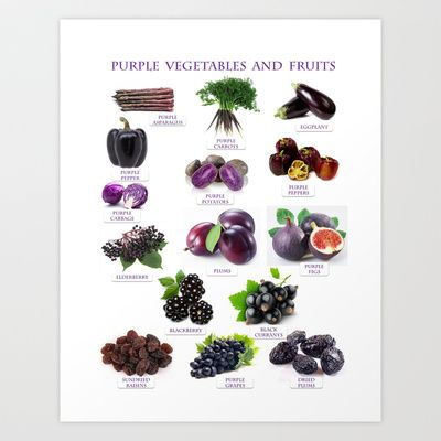 Purple Fruits and Vegetables  Art Print by Gabriela Tardea - $17.56