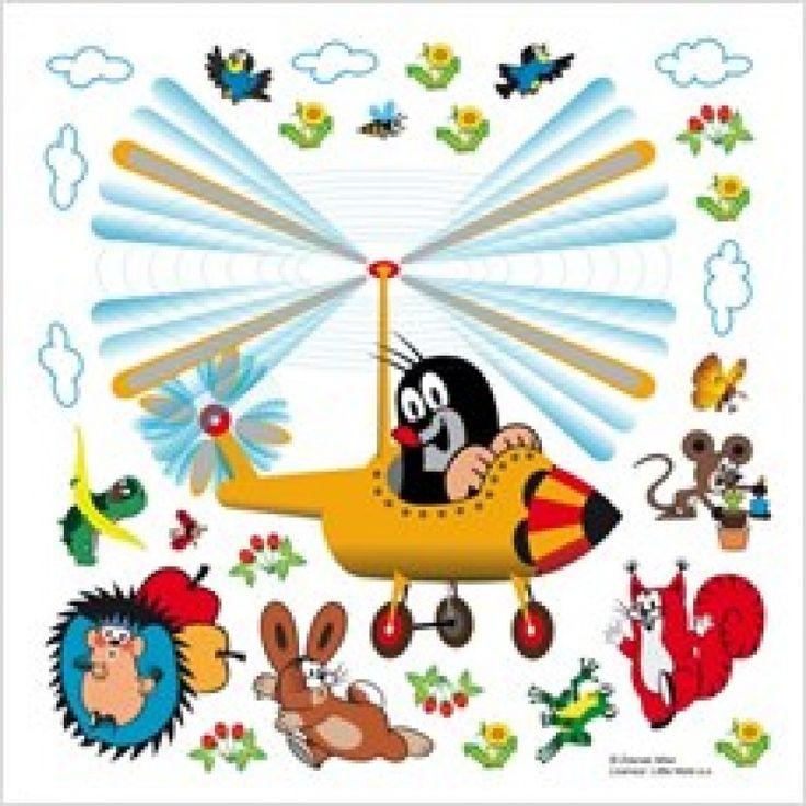 Kisvakond gyerekszoba falmatrica, helikoptert vezet (30 x 30 cm)