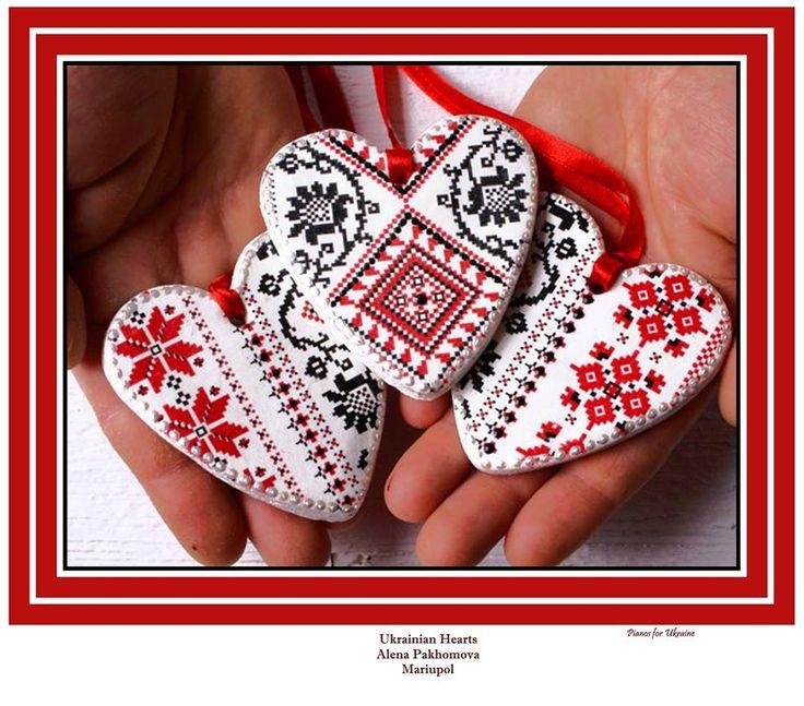 Ukrainian Hearts https://www.facebook.com/421777871289613/photos/a.421786687955398.1073741828.421777871289613/598526143614784/ https://www.etsy.com/listing/220374953/ukraine-etno-set-of-3-heart-decorative?ref=market