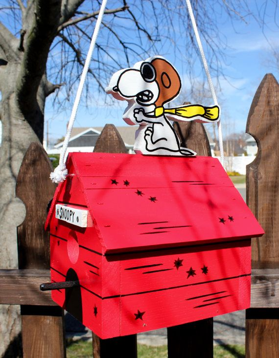 Snoopy red baron birdhouse. by FrancescosBirdhouses on Etsy