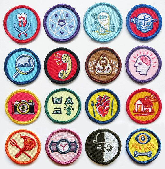 Alternative Scouting for Girls and Boys Merit Badges SINGLE BADGES - Choose from 12 designs Based on a comic strip from my Threnodies book, this is the first set of merit badges from a world where scouting is a lot more fun. Choose from merit badges for Arson, Violent Revenge, Curses & Hexes, Grave Robbery, Home Dentistry, Cannibalism, Mind Control, Prank Calls, Money Laundering, Espionage, Spirit Medium and Cryptozoology. Each patch can either be sewn on to you favourite jacket, or scout...