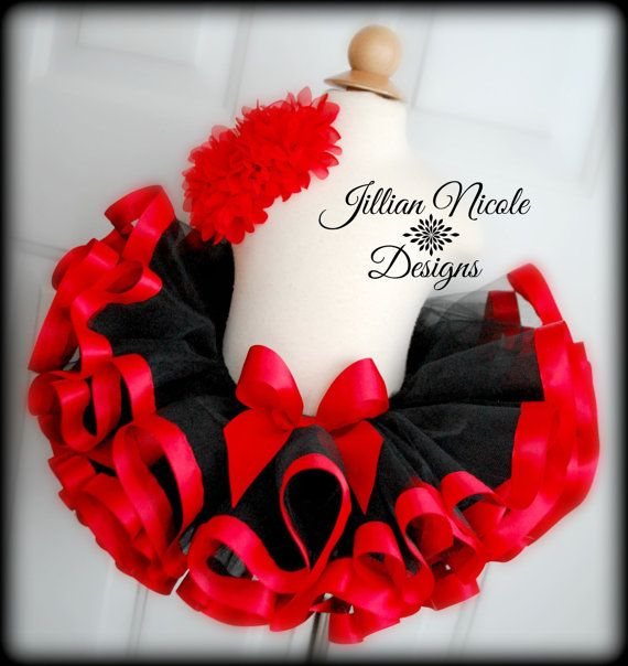 Sewn Black And Red Ribbon Trim Tutu. Jillian Nicole Designs on Etsy. https://www.etsy.com/listing/265443799/sewn-black-and-red-ribbon-trim-tutu?ref=shop_home_active_2