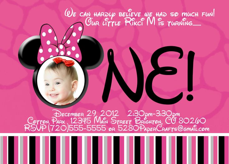 Disney Minnie Mouse St Birthday Invite DIY Printing Custom - Minnie mouse birthday invitation message