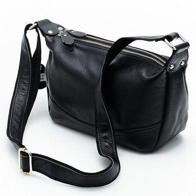 CARSID Genuine Leather Women Handbags Double Zipper Hobo Women's Shoulder Bag Ladies Messenger Bags Vintage Womens Crossbody Bag