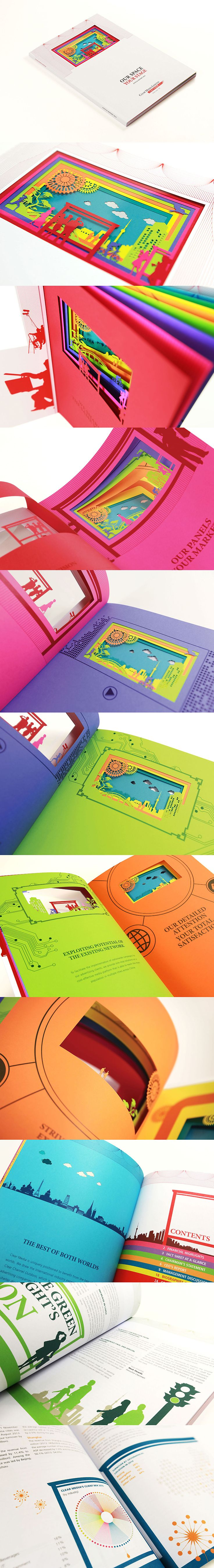 "A ""Real"" Advertising Panel on Book The Outstanding Annual Report by Phoenix Communications. Taylor-made to bring out client's business in advertising panels, design is themed ""Our Space Your Stage"". Acrylic film is inserted on cover by special printing procedures, colorful inside pages with laser cut images are designed. Each highlights different message, but the pages also combine as one, forming a beautiful stage (advertising panel) when the book is closed."