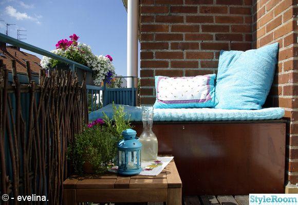 balkong,sittmöbel,förvaring,blommor,kryddor,turkos