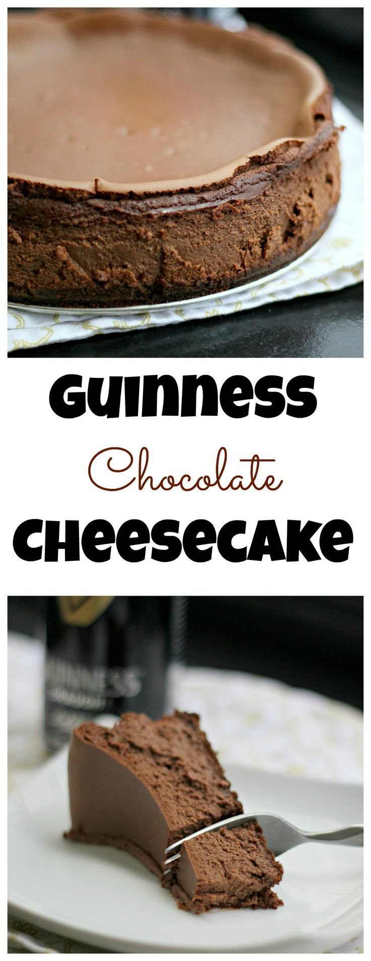 Guinness Chocolate Cheesecake - A rich chocolate cheesecake made even better by the addition of Guinness! Perfect for St. Patrick's Day.