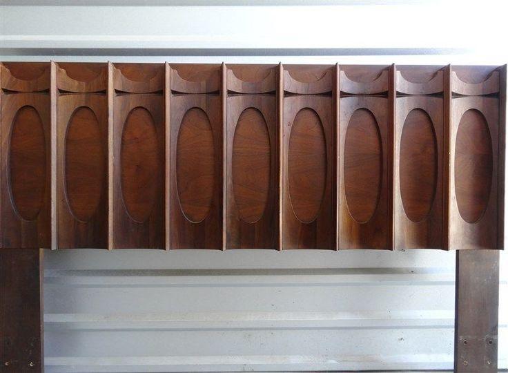 1970s Mid Century Brutalist Sculptural Walnut Bedroom Queen Headboard * Canada