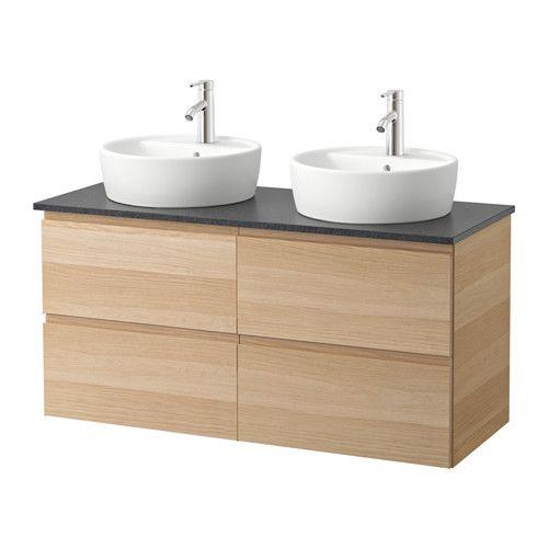 GODMORGON/ALDERN / TÖRNVIKEN Meuble lavabo av lavabo à poser 45 - effet chêne blanchi, noir motif pierre, 122x49x74 cm - IKEA