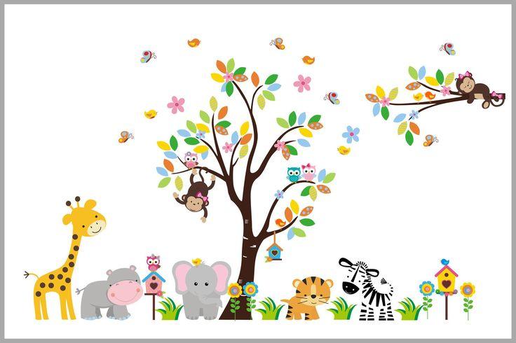 Super Sweet Jungle Animals Decal - Baby Girl's Themed Nursery Decor - Kids Stuff - Nursery Art - Kids Room - www.nurserydecals4you.com