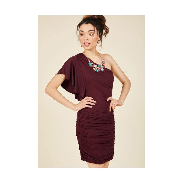 Statement Mid-length One Shoulder Sheath Tasting Room Sheath Dress (55 CAD) ❤ liked on Polyvore featuring dresses, apparel, fashion dress, red, one shoulder sheath dress, red mid length dress, red cocktail dress, one shoulder dress and mid length dresses