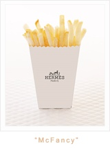 Fancy party idea! Who wouldn't like this packaging? - Hermes fries, Chanel hamburger, etc. Lol