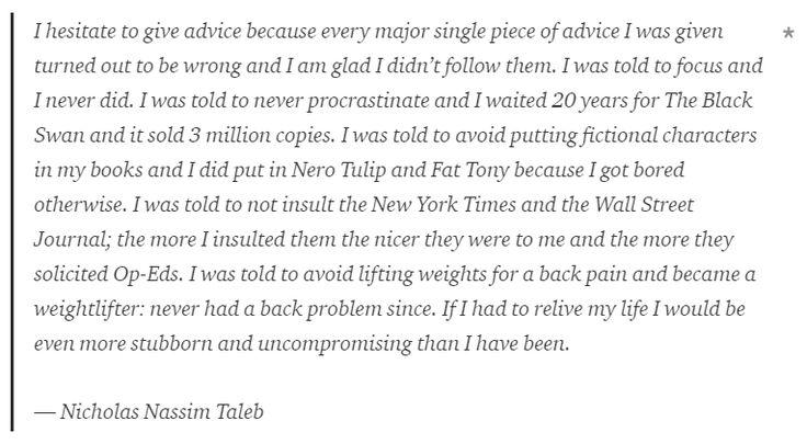 'Even More Uncompromising' -- Nicholas Nassim Taleb
