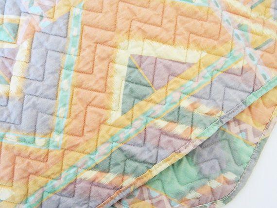 Aztec Pastel Vintage Placemat Set / Vintage Pastel Southwestern Placemats / Boho Aztec Pastel Decor / Quilted Chevron Placemats