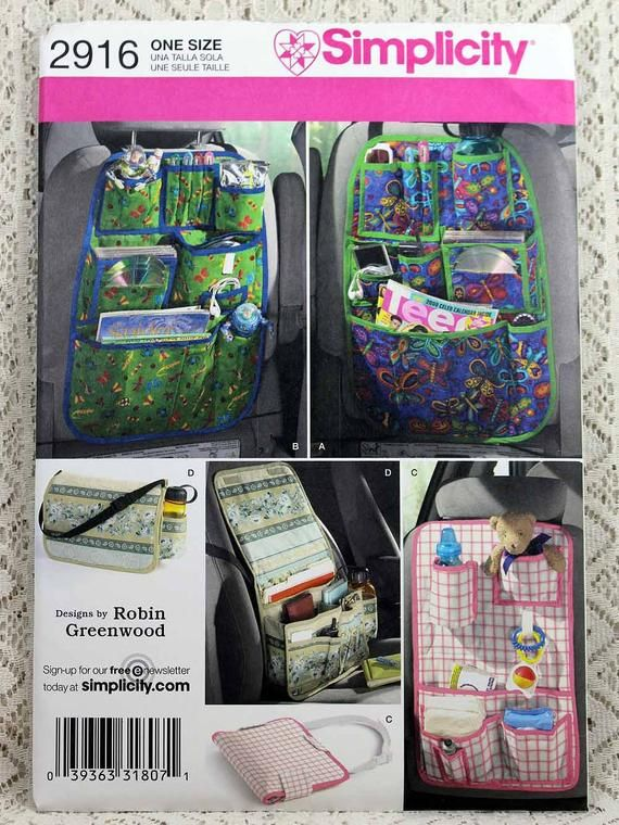 Simplicity Pattern 2916 Back of Seat Car Organizers messenger bag