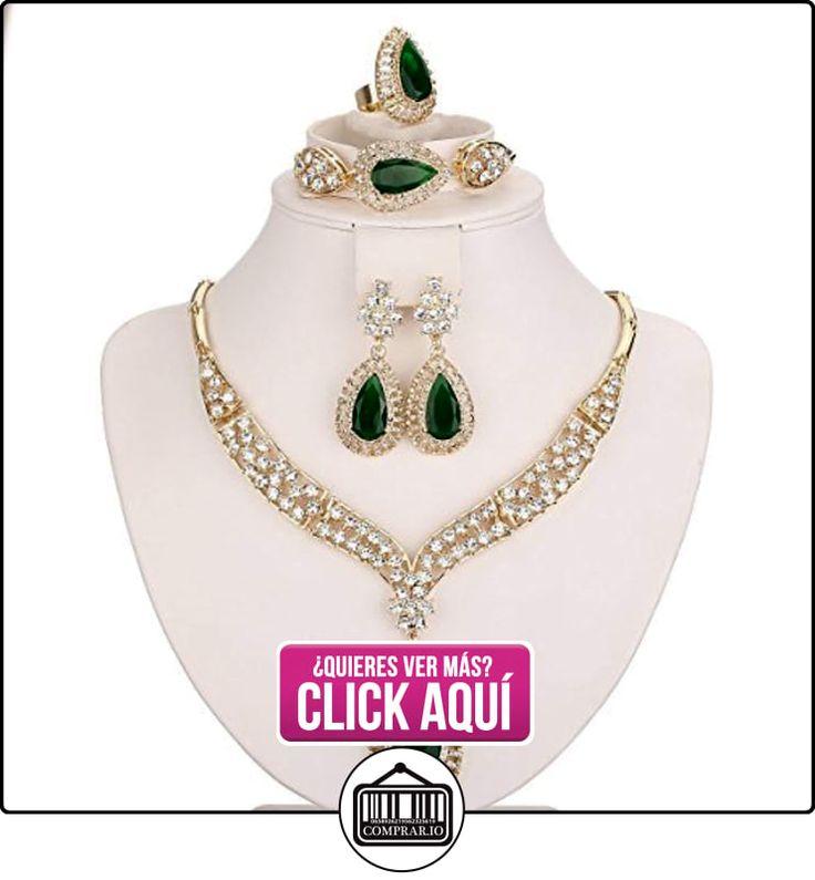 moochi bañados en oro 18K Verde Pulsera de cadena de anillo de collar y pendientes de cristal beads Jewelry Set  ✿ Joyas para niñas - Regalos ✿ ▬► Ver oferta: https://comprar.io/goto/B017I2J3KA