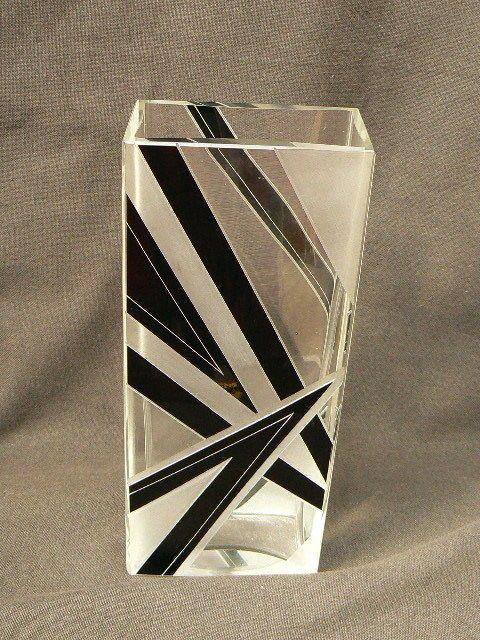 art deco bohemian geometric cut glass vase