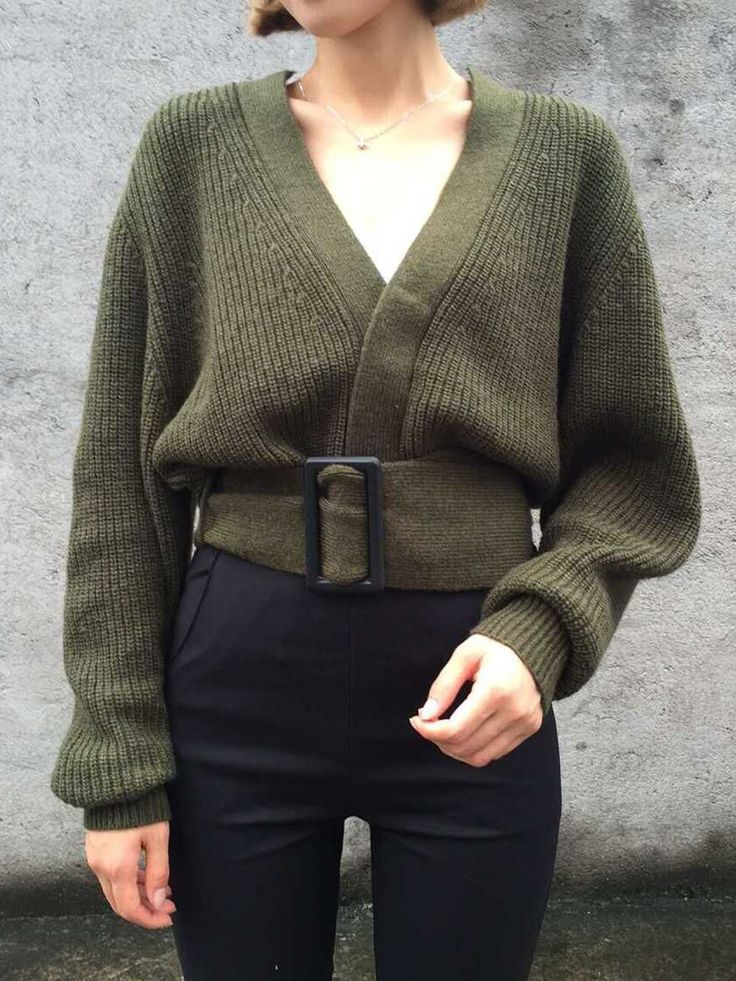 Army Green V Neck Long Sleeve Belted Cardigan