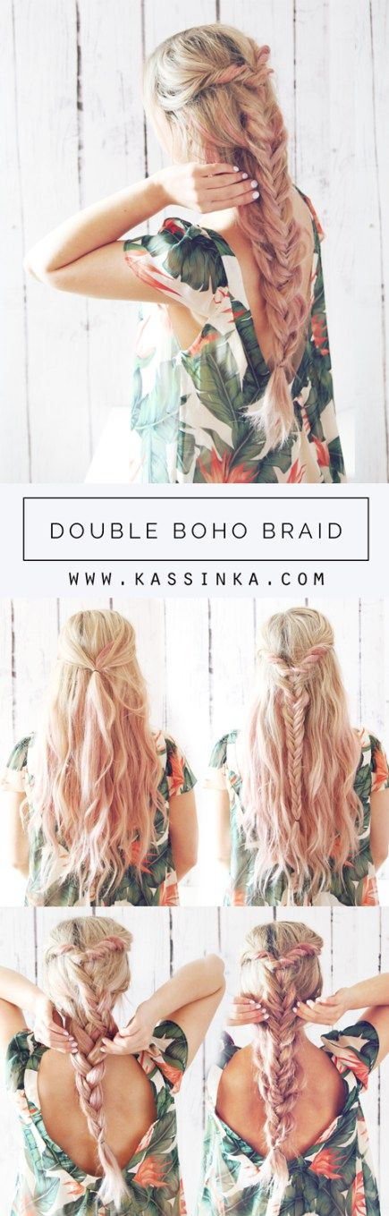 Feeling the summer boho feels lately-trythis double boho braid to get the look!Also I have been testing out some pink champagne hair color— let me know what you think! I created this hair …
