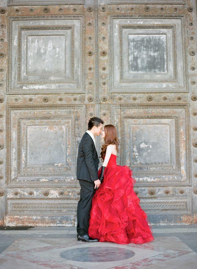 red Vera Wang ruffled wedding dress / Aneta Mak Photography