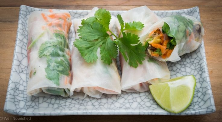 Rice paper rolls - healthy, versatile meal or snack. Great for kids lunch boxes too.