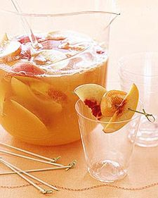Prosecco Sangria  Ingredients:  1 peach  1 nectarine  3 apricots  5 ounces peach brandy  1 bottle (750 mL) chilled Prosecco, (Italian sparkling wine)  1 cup peach nectar  Superfine sugar (optional)  Directions:In a pitcher, combine peach, nectarine, and apricots, all pitted and cut into wedges. Stir in peach brandy; let sit at least 1 hour. Stir in Prosecco and peach nectar. Add superfine sugar, if desired. Serve chilled.
