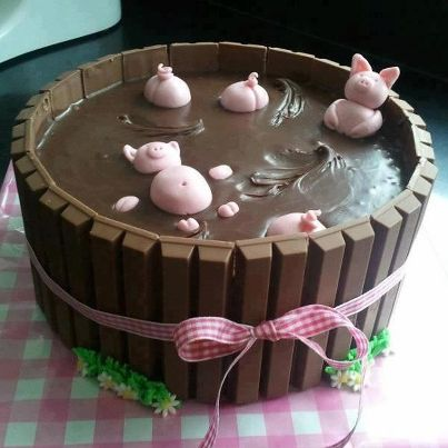 Piggies in a mud bath. Brilliant and easy with a chocolate sponge, KitKat bars, chocolate icing and some pink fondant :D