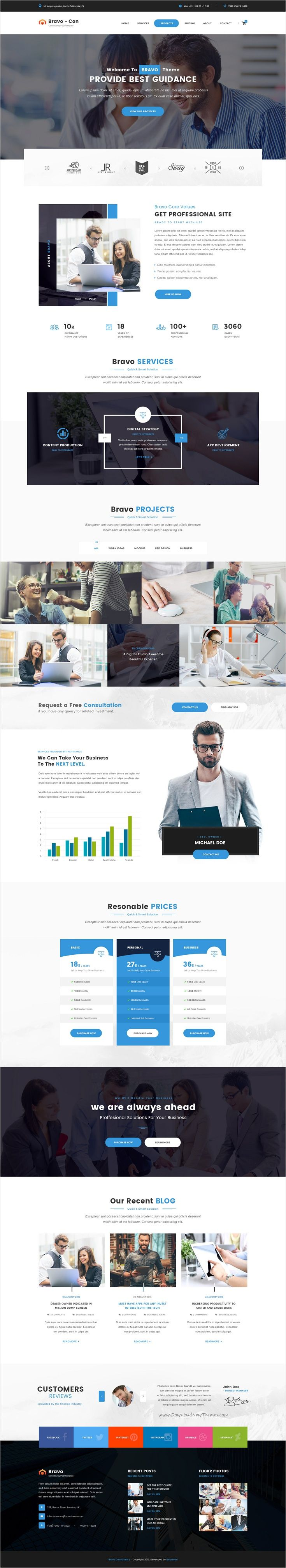 Bravo is a multipurpose #PSD #template with awesome collection of 8 niches Business, #Consultancy, Restaurant, SEO, Construction, Architecture, SPA, Fashion Shop website with 66 organized PSD pages download now➩ s2-do.host-ed.me