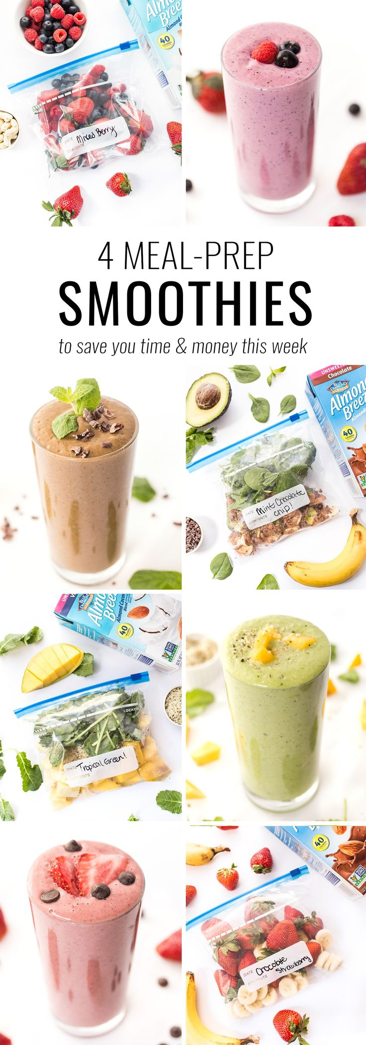 Meal prep like a boss with these 4 EASY meal-prep smoothie recipes! Just toss the ingredients in a bag, freeze and blend when ready to eat! CC: @almondbreeze #partner