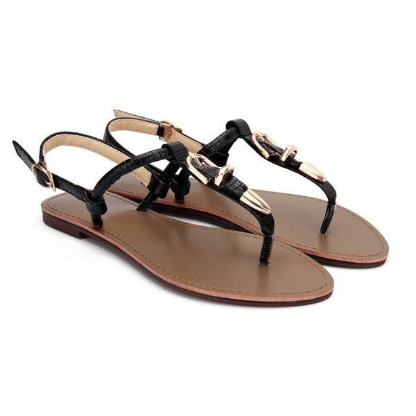 Yoins Black Buckle T-Strap Flat Sandals ($23) ❤ liked on Polyvore featuring shoes, sandals, black, flat sandals, embellished sandals, buckle sandals, t strap flat shoes and t strap shoes