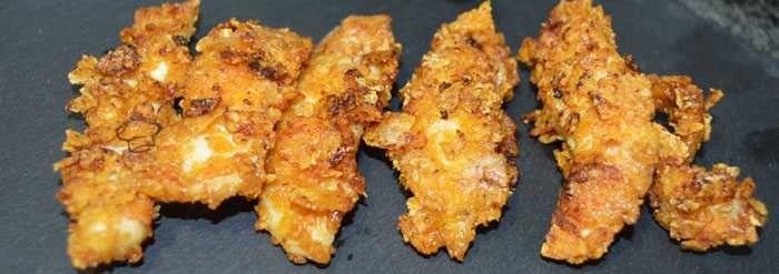 Tiras de pollo rebozado con doritos