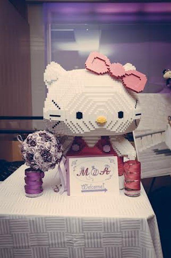 Rather unique #wedding decor - a giant lego Hello Kitty