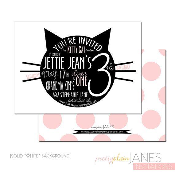 Kitty Cat Bithday Party Invitation
