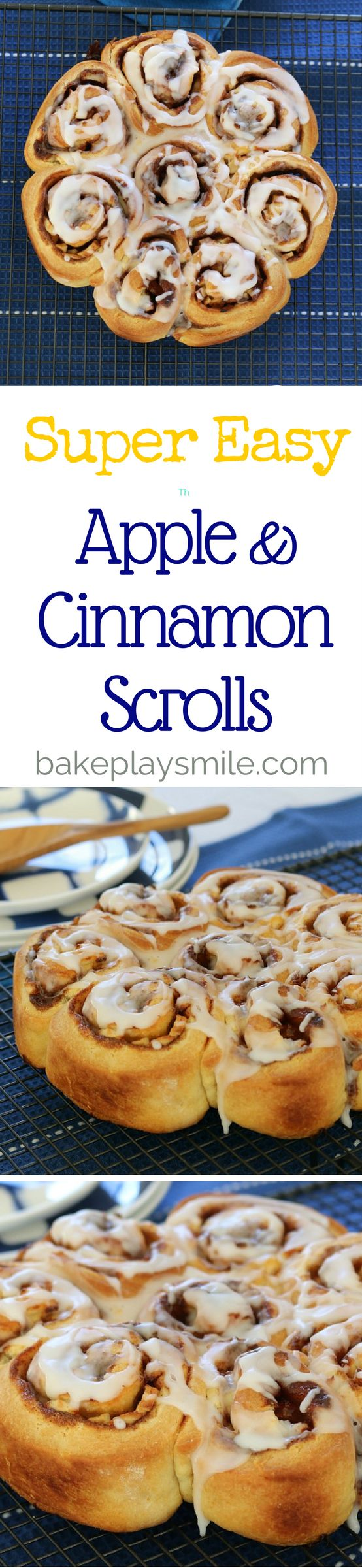Apple & Cinnamon Scrolls  These Apple & Cinnamon Scrolls take 10 minutes to prepare, require no proving time at all… and taste amazing!  #apple #cinnamon #scrolls #icing #easy #recipe #lunchbox #snack #sweet #conventional #thermomix