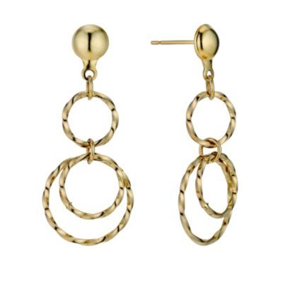 9ct Yellow Rolled Gold Drop Earrings- H. Samuel the Jeweller