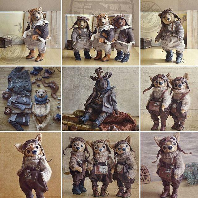 """В сентябре потянуло в небо - появилась мини коллекция из трех медведей-пилотов. Очень понравилось работать и с образами, и с костюмами, и с натуральной кожей. В октябре, ближе к Дню рождения, родилась осенняя, утепленная мини-коллекция """"Лось Хворост и Co"""". К сожалению, фоточек их нет, пока живут у меня, ждут своего звездного часа! На День рождения захотела порадовать себя и сшить себе маленького клона Бонифацио....Но все знают, что Бонифацио много не бывает, и очень многие захотели себе…"""