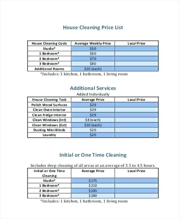 Deep Cleaning House List Price List Samples In Whole House