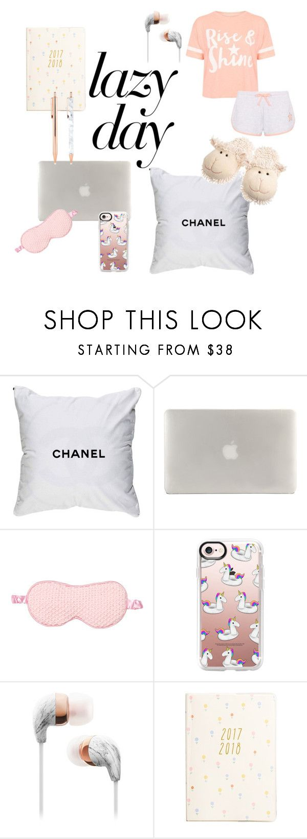 """Lazy day"" by elisa-togneri ❤ liked on Polyvore featuring Chanel, Pijama, Debenhams, Tucano, Casetify and kikki.K"