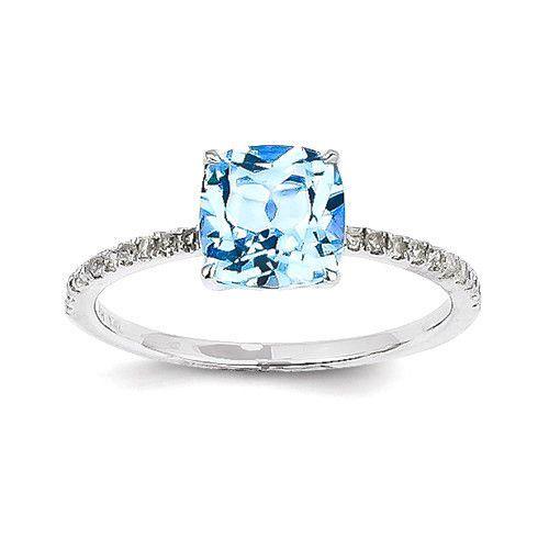 14k White Gold Diamond And Blue Topaz Ring – Sparkle & Jade