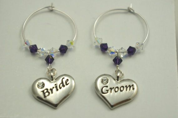 Bride & Groom  Wine Glass Charms  Favors by Makewithlovecrafts, £9.99
