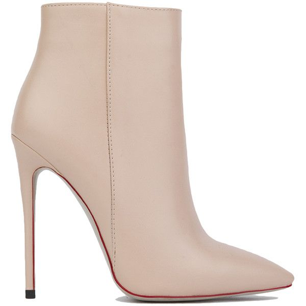 AKIRA Black Label Paulina Stiletto Heel Ankle Boots - Nude PU (£39) ❤ liked on Polyvore featuring shoes, boots, ankle booties, heels, ankle boots, booties, nude pu, high heel bootie, short boots and high heel booties